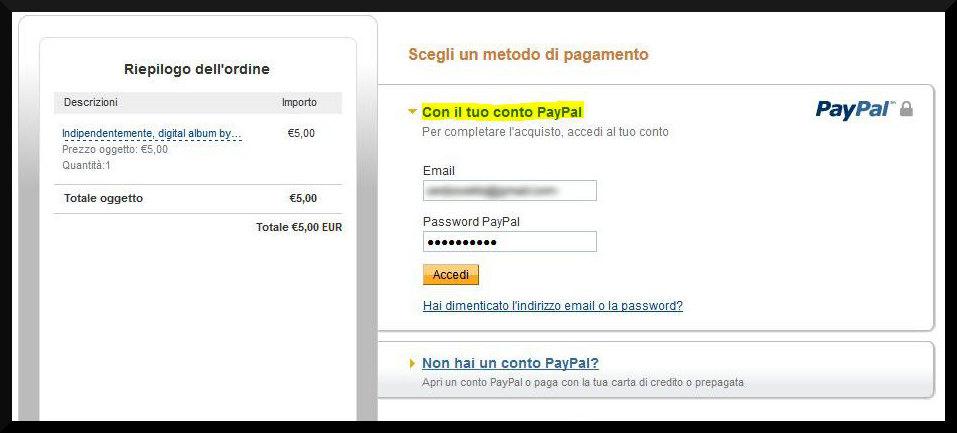 Pagamento con account PayPal