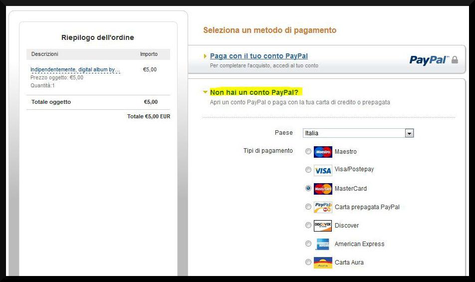 Pagamento senza account PayPal